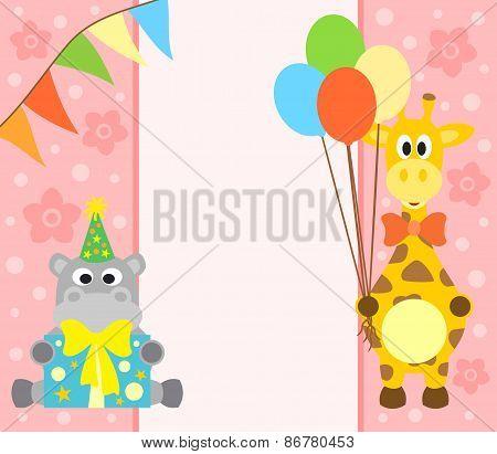 Background  with hippopotamus and giraffe