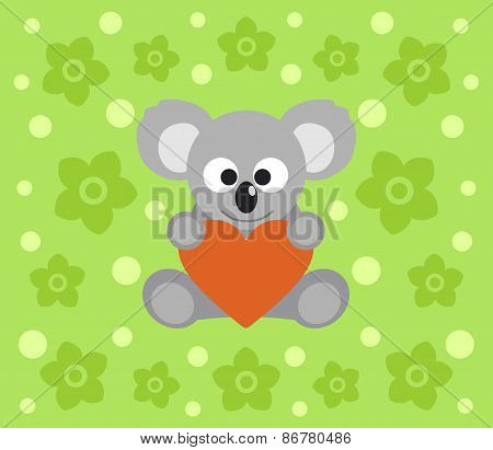 Background with koala cartoon