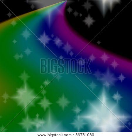 Rainbow Milky Way On Black Sky