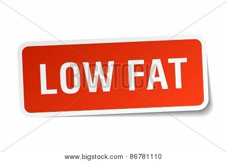 Low Fat Red Square Sticker Isolated On White