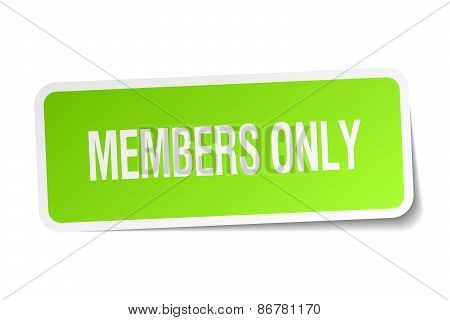 Members Only Green Square Sticker On White Background