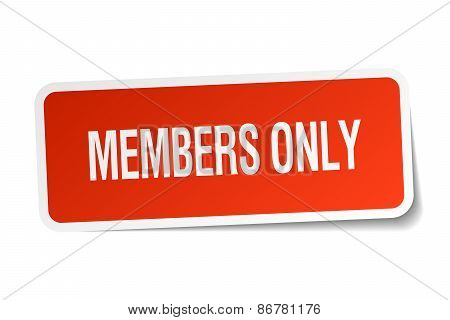 Members Only Red Square Sticker Isolated On White