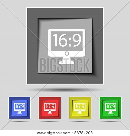 Aspect Ratio 16 9 Widescreen Tv Icon Sign On The Original Five Colored Buttons. Vector