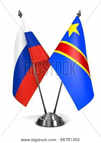 Russia and Democratic Republic Congo - Miniature Flags.