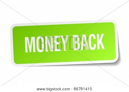 Money Back Green Square Sticker On White Background