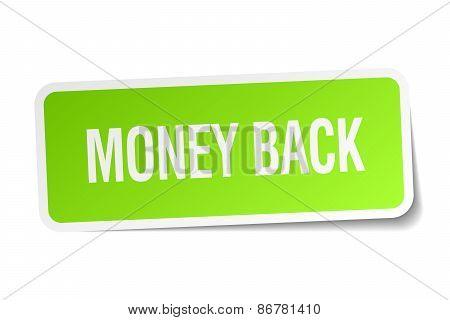 Money Back Green Square Sticker On White Background