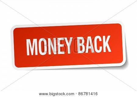 Money Back Red Square Sticker Isolated On White