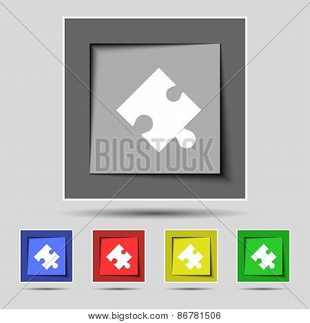 Puzzle Piece Icon Sign On The Original Five Colored Buttons. Vector