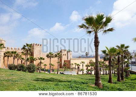 RABAT, MOROCCO - MAR 8 2015 : Palm trees surround the  Kasbah of the Udayas.