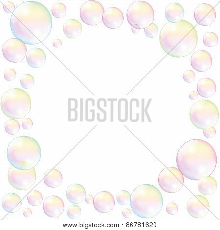 Soap Bubbles Frame Background White