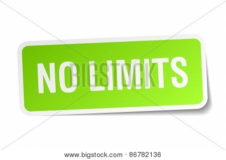 No Limits Green Square Sticker On White Background