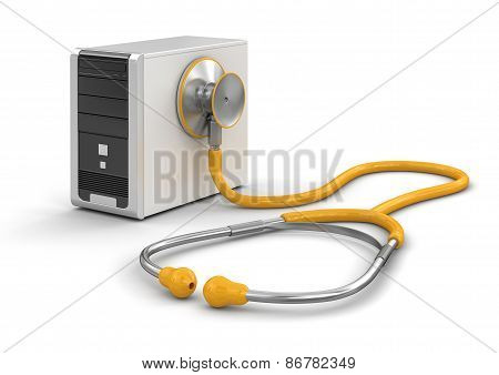 Computer and stethoscope (clipping path included)