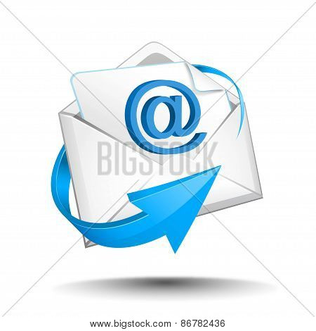 email with blue arrow