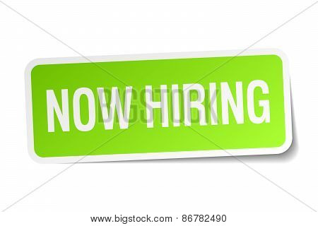 Now Hiring Green Square Sticker On White Background