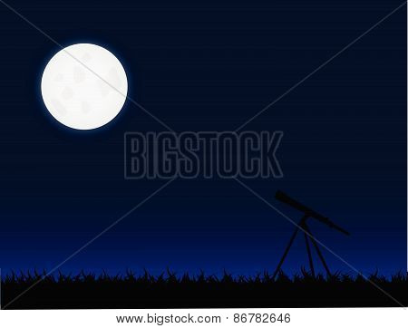 Telescope And Moon Illustration