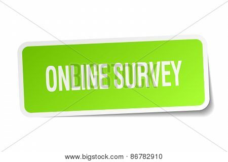 Online Survey Green Square Sticker On White Background