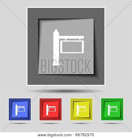 Information Road Sign Icon Sign On The Original Five Colored Buttons. Vector