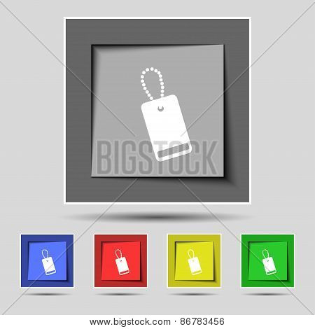 Army Chains Icon Sign On The Original Five Colored Buttons. Vector