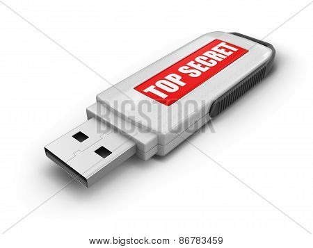 USB flash Memory Top Secret (clipping path included)