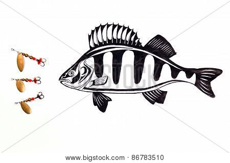 Fishing Metal Baits With Drawing Fish On The White Background.