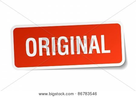 Original Red Square Sticker Isolated On White