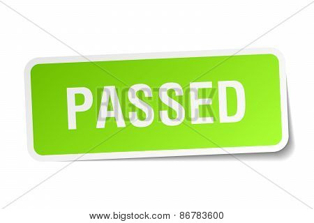 Passed Green Square Sticker On White Background