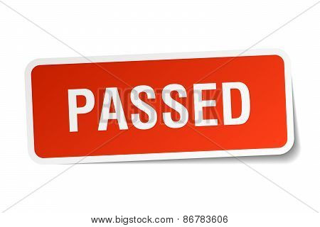 Passed Red Square Sticker Isolated On White