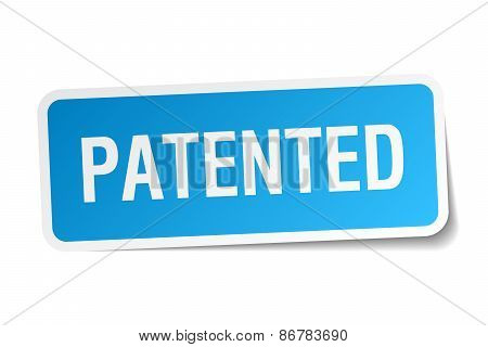 Patented Blue Square Sticker Isolated On White