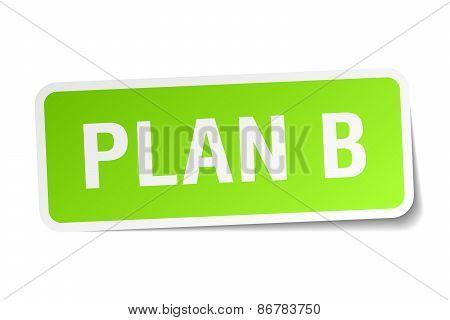 Plan B Green Square Sticker On White Background