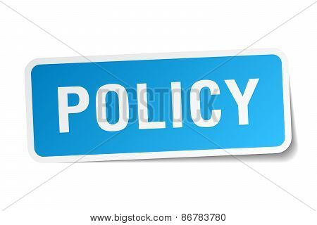 Policy Blue Square Sticker Isolated On White