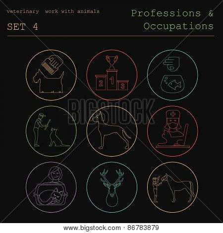Professions and occupations coloured icon set. Veterinary, work with animals. Flat linear design