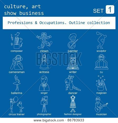 Professions and occupations outline icon set. Culture, art, show business. Coloured version