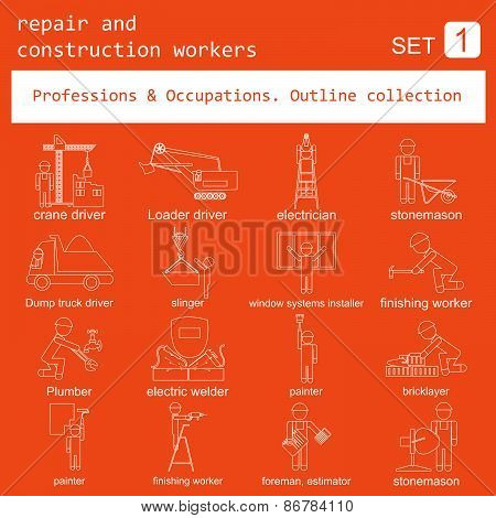 Professions and occupations coloured icon set. Repair and construction workers