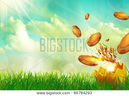 Casino coins flying from an golden egg shells