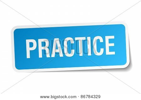 Practice Blue Square Sticker Isolated On White