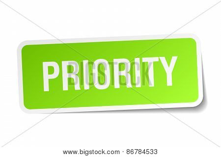Priority Green Square Sticker On White Background