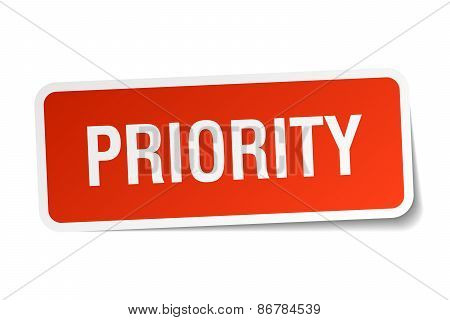 Priority Red Square Sticker Isolated On White
