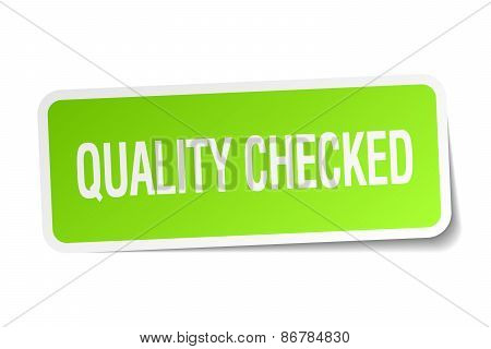 Quality Checked Green Square Sticker On White Background