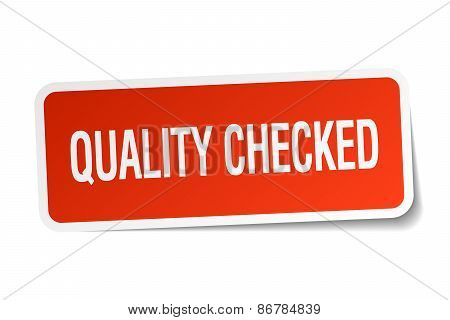 Quality Checked Red Square Sticker Isolated On White