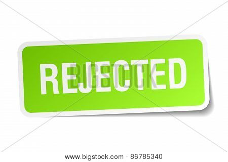 Rejected Green Square Sticker On White Background
