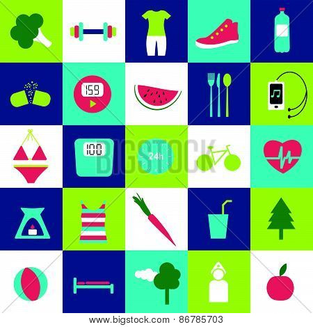 Fitness and health life stale icons.