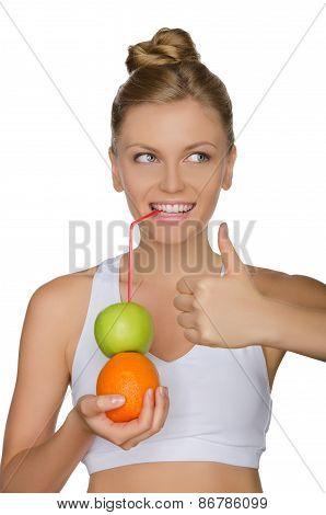 Happy Woman Drinking Juice From Apple, Orange