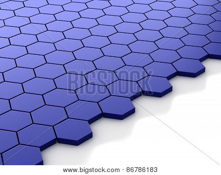 blue metallic background with hexagons and place