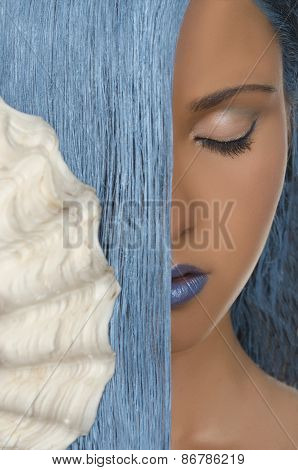 Woman With Long Blue Hair, Shells, Closed Eyes