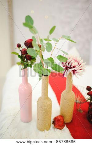 Banquet wedding table setting flowers