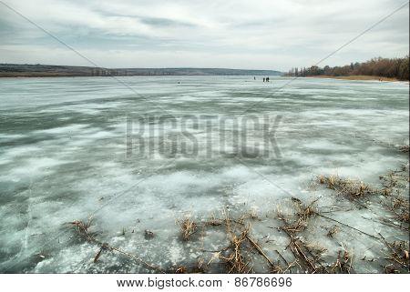 Beautiful landscape of frozen lake
