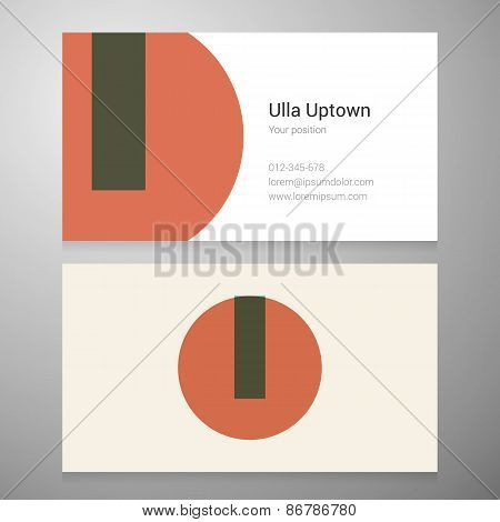 Vintage Letter U Icon Business Card Template
