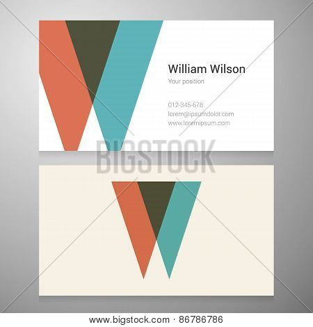 Vintage Letter W Icon Business Card Template