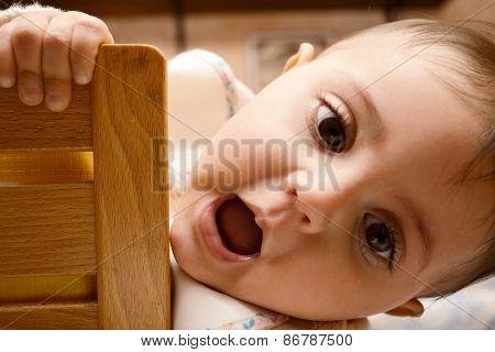 baby playing hug