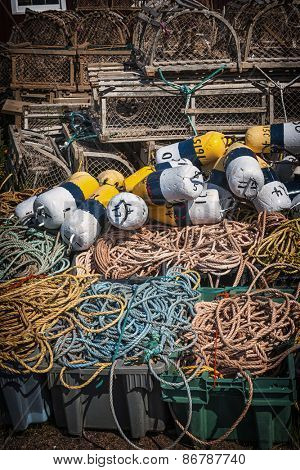 Floats, rope and lobster traps in North Rustico, Prince Edward Island, Canada.